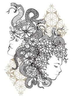 Tatuagem de mulheres com flores e mão de cobra desenhando