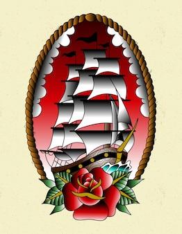 Tatuagem de navio à moda antiga
