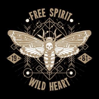 Tatuagem de ocultismo de borboleta. espírito livre, coração selvagem