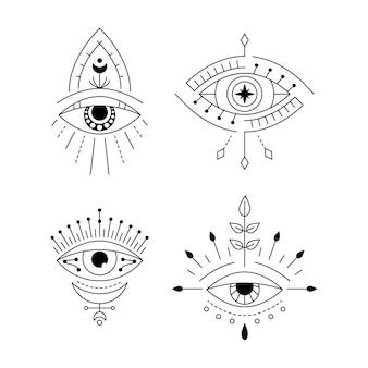 Tatuagem de olho místico de arte linear conjunto de visão providence amuleto impressão símbolo do mal geométrico do olho que tudo vê