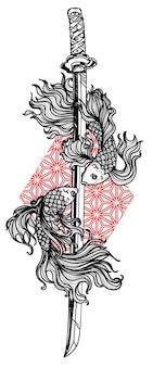 Tatuagem de peixe lutador siamês e desenho e esboço de mão em espada