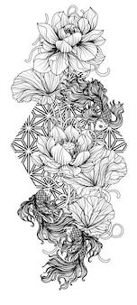 Tatuagem de peixes lutadores siameses na mão de lótus, desenhando e esboçando