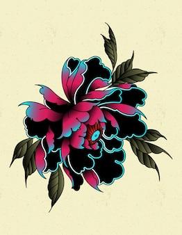 Tatuagem de peônia à moda antiga