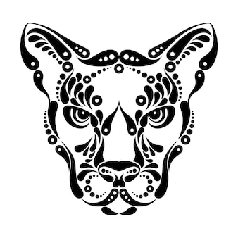 Tatuagem de puma, ilustração de decoração de símbolo