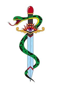 Tatuagem de punhal e cobra
