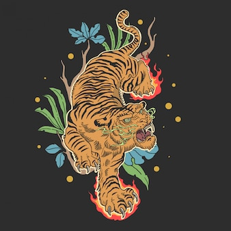 Tatuagem de tigre clássico