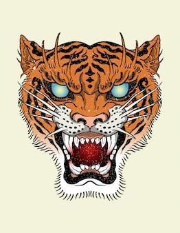 Tatuagem de tigre velha escola