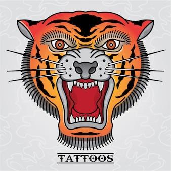 Tatuagem de tigre velho crânio