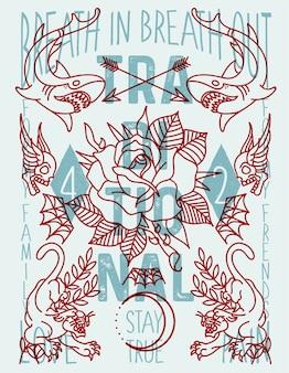 Tatuagem de velha escola de cartaz
