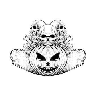 Tatuagem desenho desenhado à mão abóbora com caveira ilustração de halloween