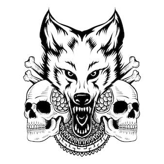 Tatuagem desenho desenhado à mão crânio com lobo e mandala preto e branco