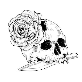 Tatuagem desenho faca e caveira com rosa arte linha cabeça preto e branco