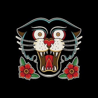 Tatuagem do vintage das rosas da pantera retro