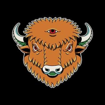 Tatuagem do vintage do bisonte retro