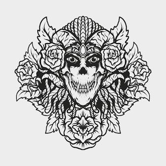 Tatuagem e camiseta com desenho de crânio do diabo e ornamento de gravura de rosa