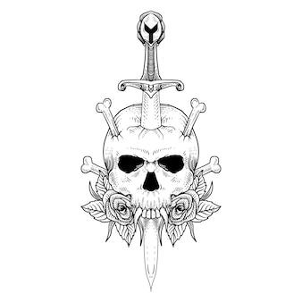 Tatuagem e camiseta com desenho de crânio e espada