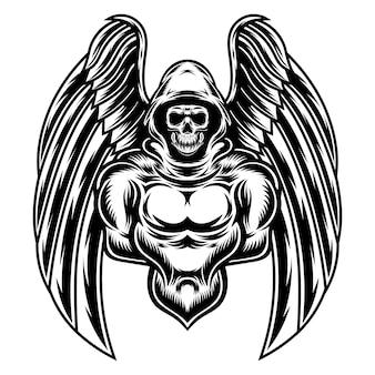 Tatuagem e camiseta com design reaper preto e branco