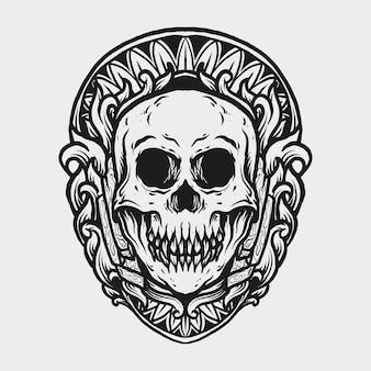 Tatuagem e camiseta desenho ornamento de gravura de crânio