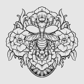 Tatuagem e camiseta desenho preto e branco desenhado à mão besouro e ornamento de gravura de flores