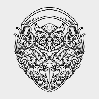 Tatuagem e camiseta desenho preto e branco desenhado à mão coruja máscara de crânio gravura ornamento