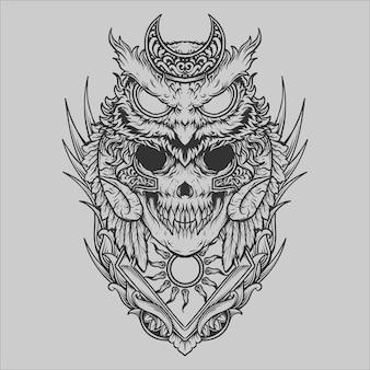 Tatuagem e camiseta desenho preto e branco desenhado à mão coruja ornamento de gravura de crânio