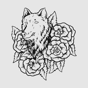 Tatuagem e camiseta desenho preto e branco desenhado à mão lobo com rosa