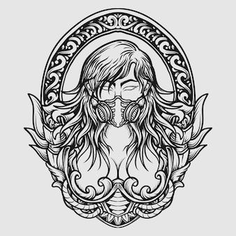 Tatuagem e camiseta desenho preto e branco desenhado à mão menina máscara de gás gravura ornamento