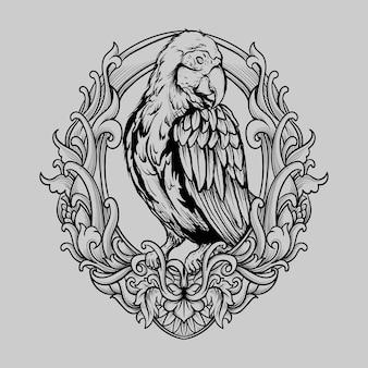 Tatuagem e camiseta desenho preto e branco mão desenhada arara pássaro gravura ornamento