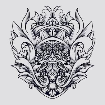 Tatuagem e camiseta desenho preto e branco mão desenhada barong em gravura ornamento