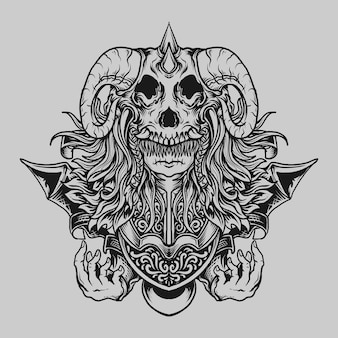 Tatuagem e camiseta desenho preto e branco mão desenhada bebê diabo gravura ornamento