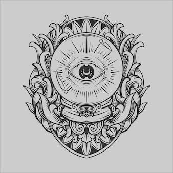 Tatuagem e camiseta desenho preto e branco mão desenhada bola de cristal ornamento de gravura de olho