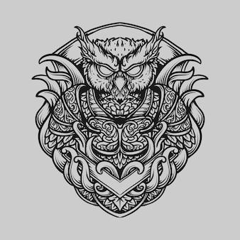 Tatuagem e camiseta desenho preto e branco mão desenhada coruja guerreiro gravura ornamento