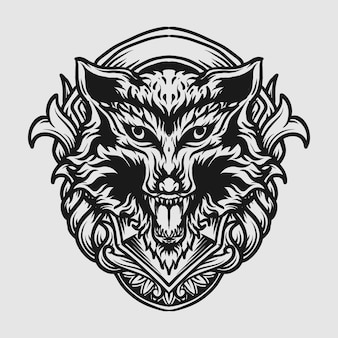 Tatuagem e camiseta desenho preto e branco mão desenhada ornamento de gravura de cabeça de lobo