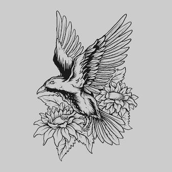 Tatuagem e camiseta desenho preto e branco mão desenhada pássaro e ornamento de gravura de flores