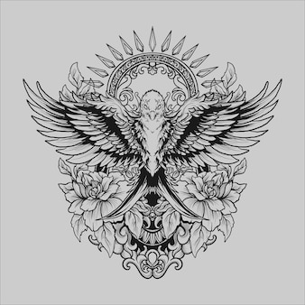 Tatuagem e camiseta desenho preto e branco mão desenhada pássaro e rosa ornamento de gravura