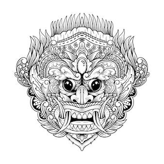 Tatuagem e camiseta desenho rangda bali preto e branco ilustração da arte da linha