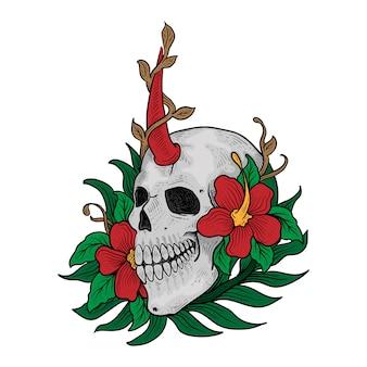 Tatuagem e camiseta design cabeça crânio e flor premium