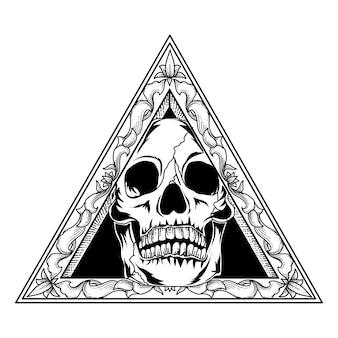 Tatuagem e camiseta design crânio em ornamento de moldura de triângulo