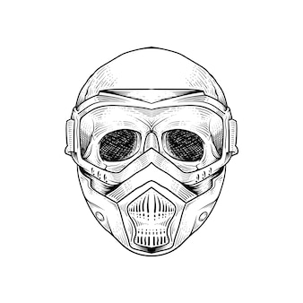 Tatuagem e camiseta design esqueleto vestindo gás resparator máscara premium