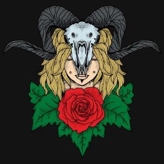 Tatuagem e camiseta design meninas com crânio de cabra e rosa premium