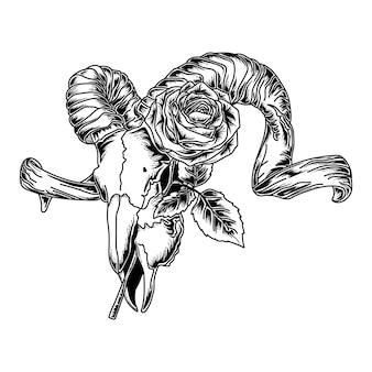Tatuagem e camiseta design obras de arte mão ilustrações desenhadas crânio de cabra e rosa premium
