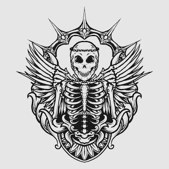 Tatuagem e camiseta design preto e branco desenhado à mão anjo ornamento de gravura de crânio