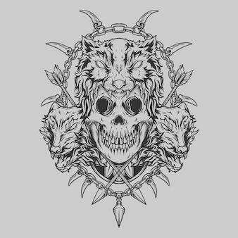 Tatuagem e camiseta design preto e branco desenhado à mão lobo e ornamento de gravura de crânio