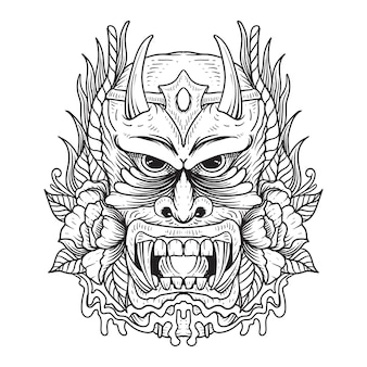 Tatuagem e camiseta design preto e branco máscara oni japonês premium vetor