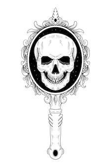 Tatuagem e caveira com camiseta e ornamento de espelho