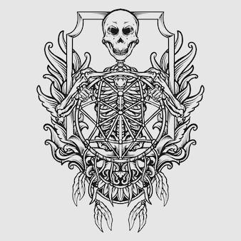 Tatuagem e desenho de camiseta em preto e branco esqueleto desenhado à mão com ornamento de gravura de apanhador de sonhos