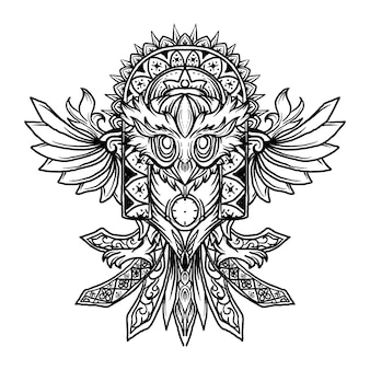 Tatuagem e desenho de camiseta preto e branco ilustração desenhada à mão coruja ornamento