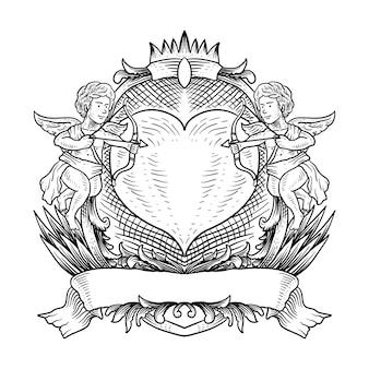 Tatuagem e design de camiseta com arco e flecha de cupido