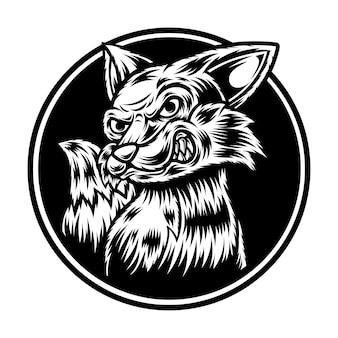 Tatuagem e design de camiseta em preto e branco fox illustration