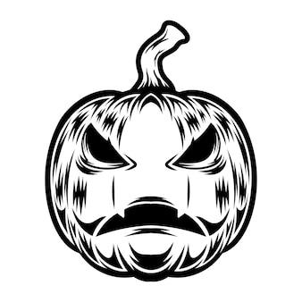 Tatuagem e design de camiseta em preto e branco ilustração de abóbora